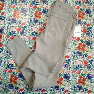 NWT MOTHER The Looker Distress Skinny Jeans Sand